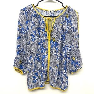 Boden Floral Blue Yellow Boho Peasant Top Sz 8